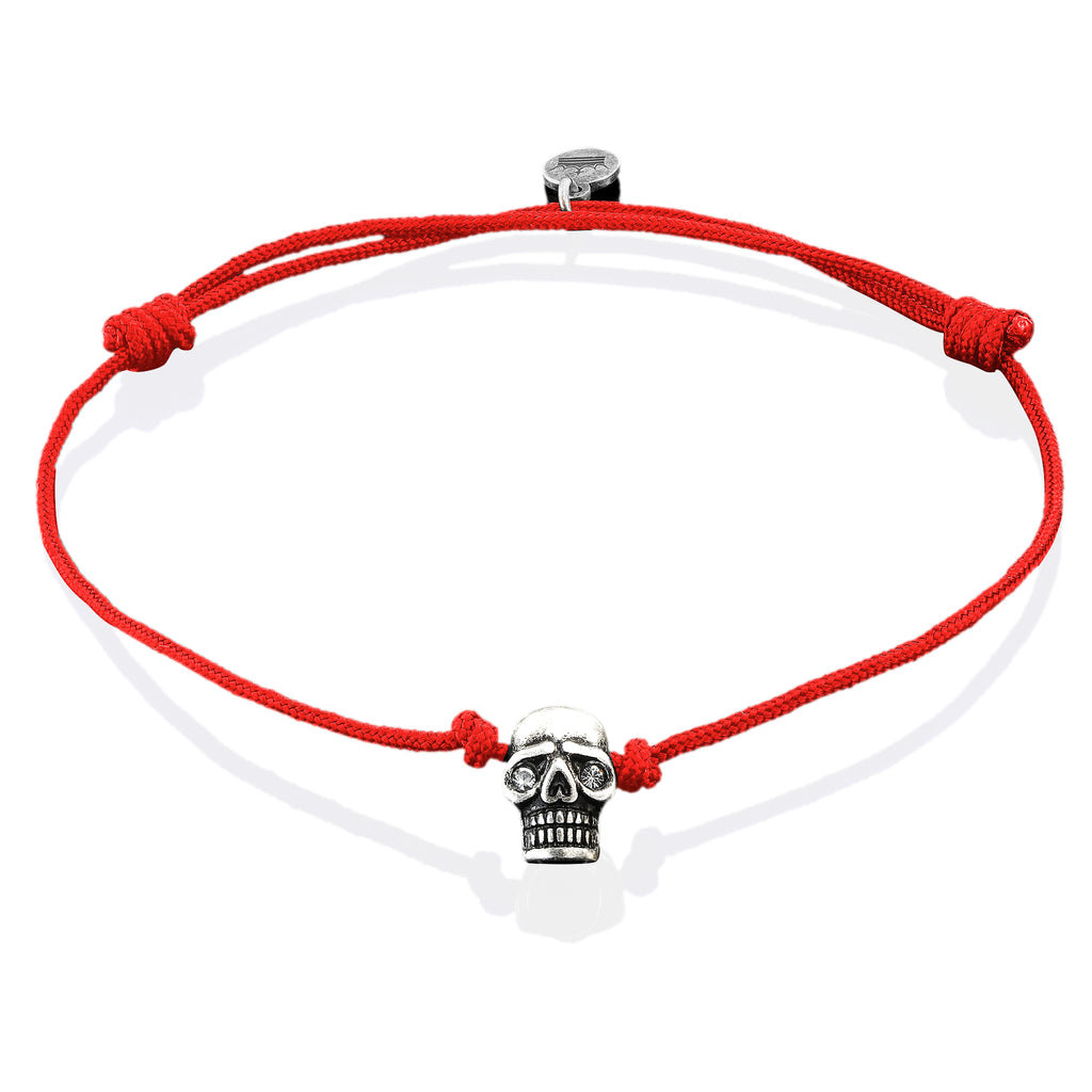 Silver Plated Skull on Red String Bracelet