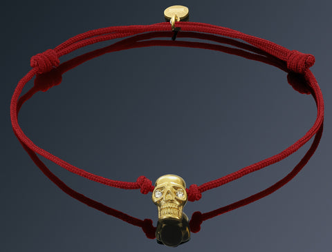 Gold Plated Skull on Red String Bracelet - Imperi - 1