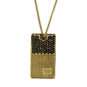 Gold Pave Dog Tag Necklace