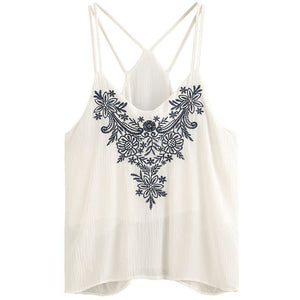 Embroidery Strappy Cami Top