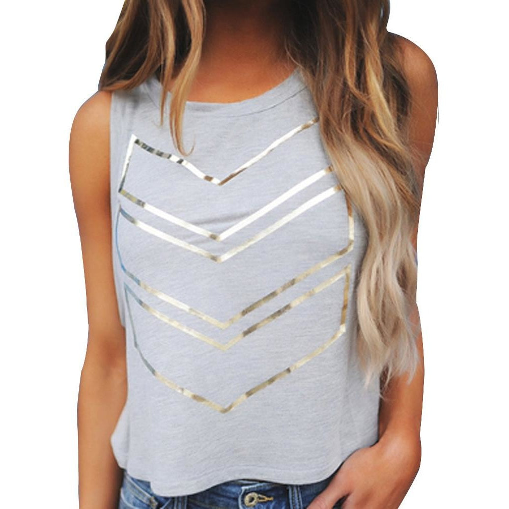 Lined Gold Geometric Top