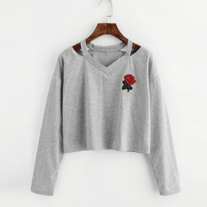 Long Sleeve Rose Print Pullover