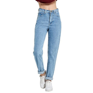Simple Loose High-Waist Jeans