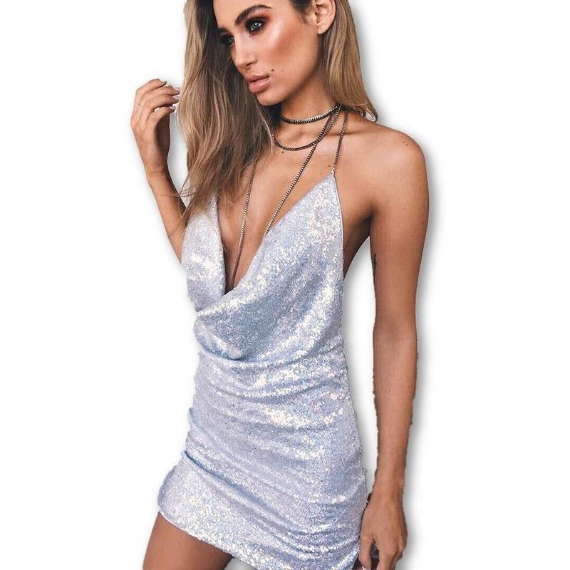 Sequined Deep V-Neck Dress