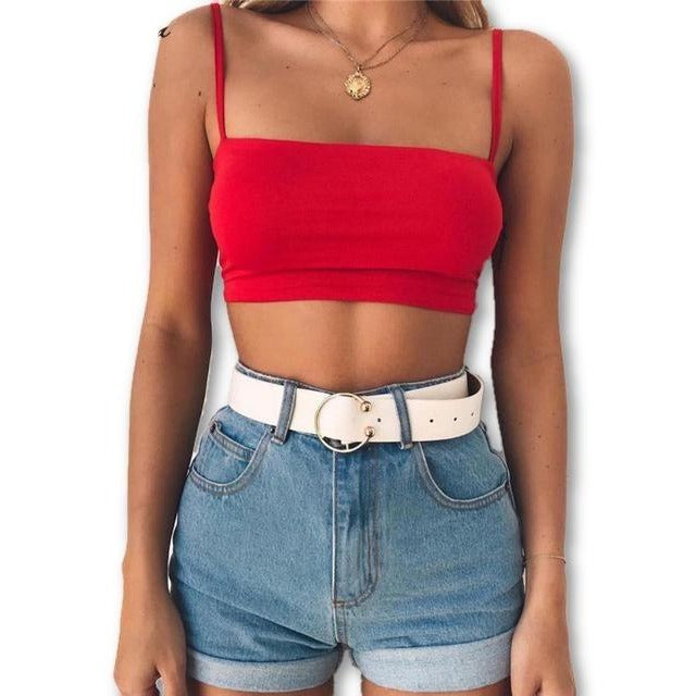Spaghetti Strap Cropped Sisters Top