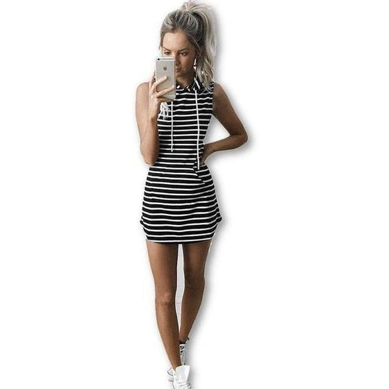 Striped Hoodie Dress