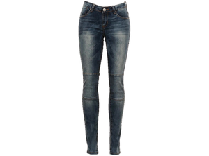 Ribbed Knee Mid Denim Jeans