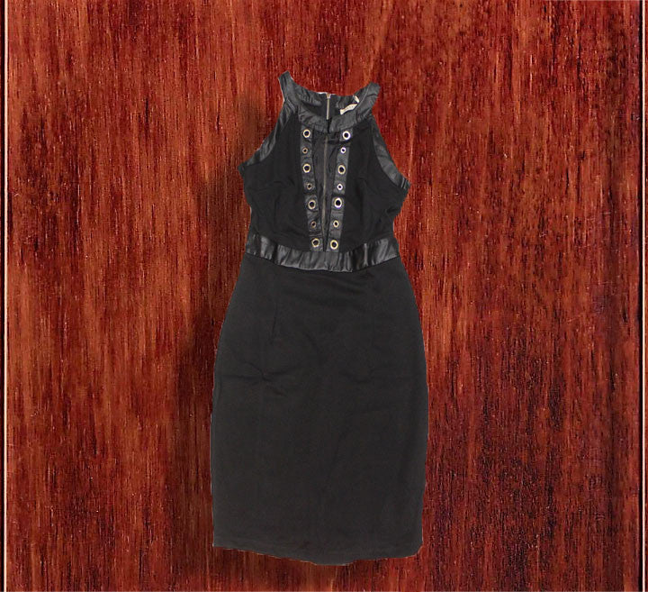 Sexy Leather Trim Party Dress