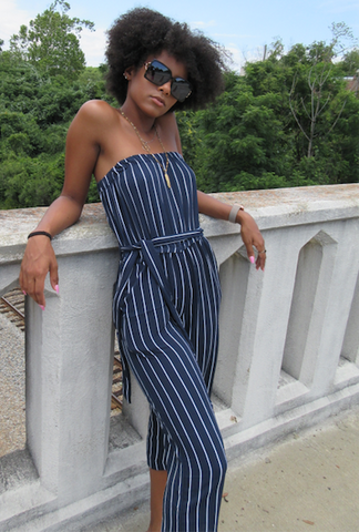 Culotte Striped Strapless Jumpsuit