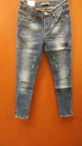Split Knee Jeans With Side Zips
