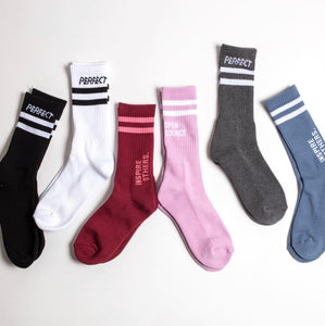 White Perfect Crew Stripe Socks