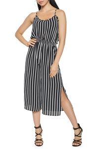 Stripped Jumpsuit with Slits