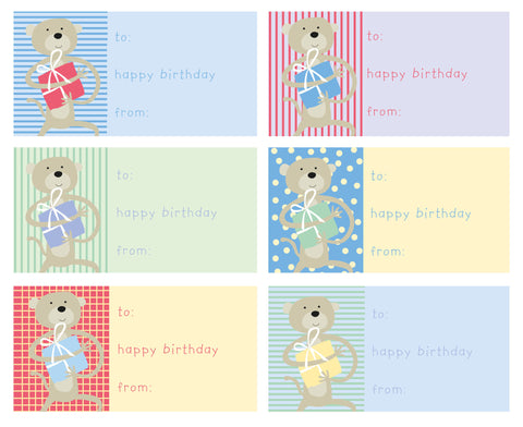 gift sticker labels birthday monkey