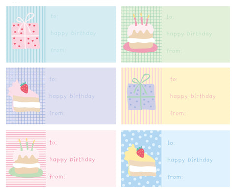 gift sticker labels birthday cake & presents
