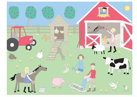 illustration large frame farmyard