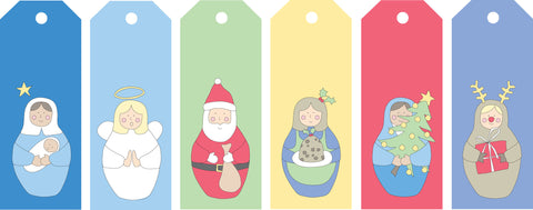 gift tags christmas babushka set of 12