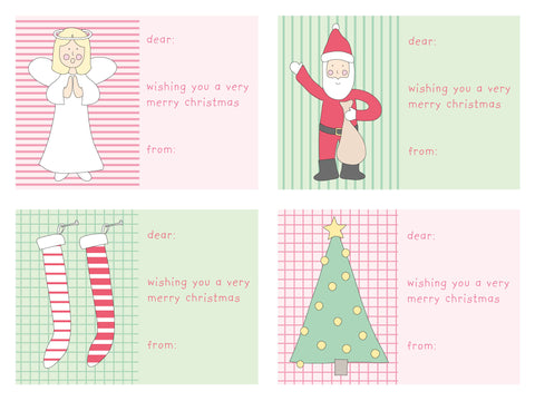 gift sticker labels christmas red & green