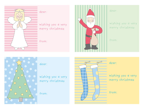 gift sticker labels christmas colourful