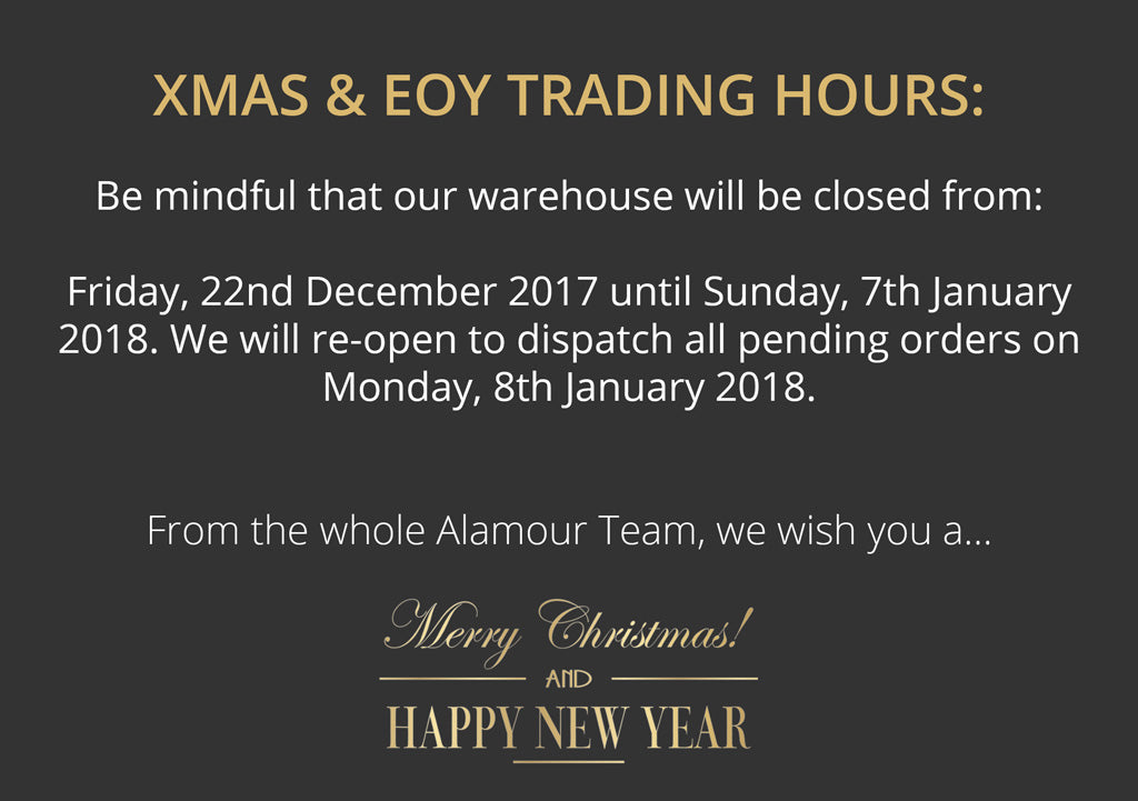 Alamour The Label Xmas & EOY Trading Dates