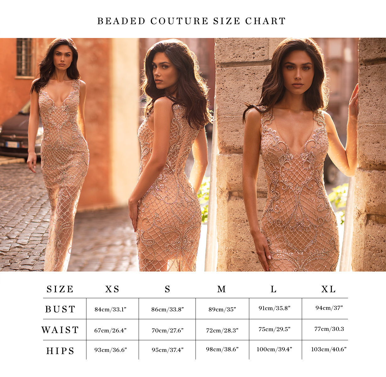 Beaded Couture size chart