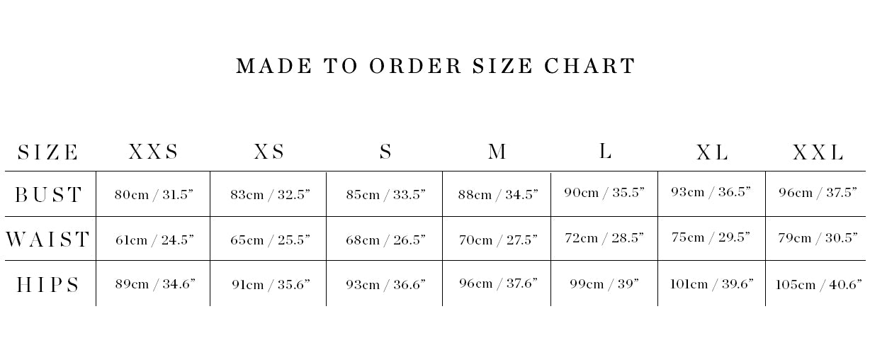 Made to Order Size Chart