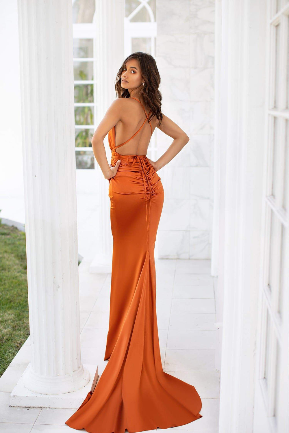 Tierra - Golden Rust Satin Plunge Halterneck Lace-Up Gown with Ruching