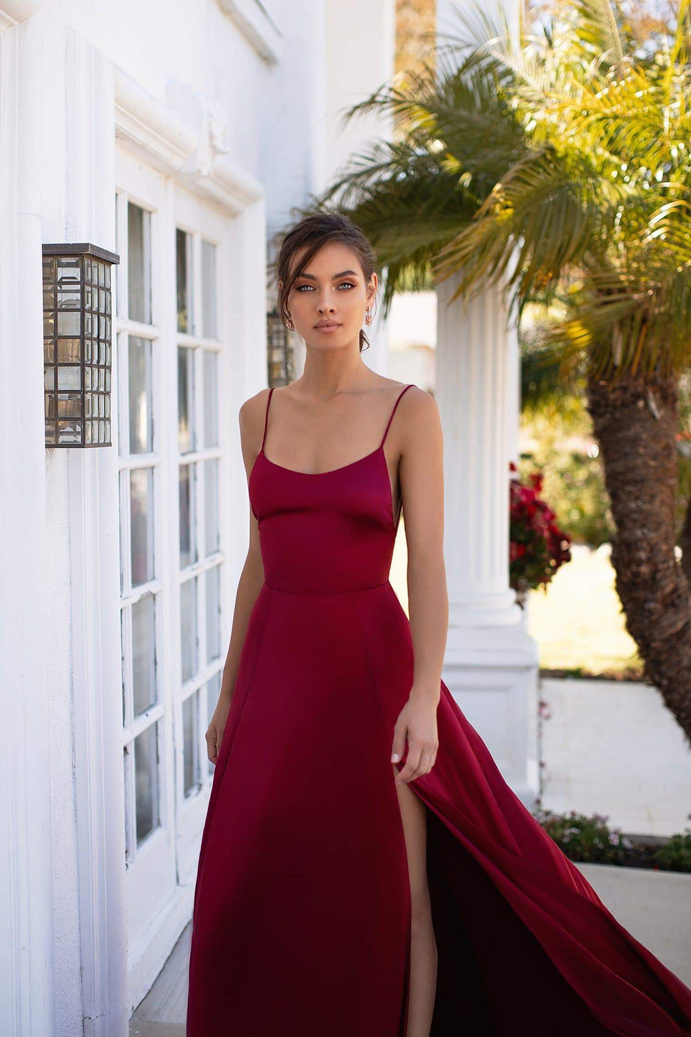 Olivia - Deep Red Satin Gown with Scoop Neck, Slits & Lace-Up Back