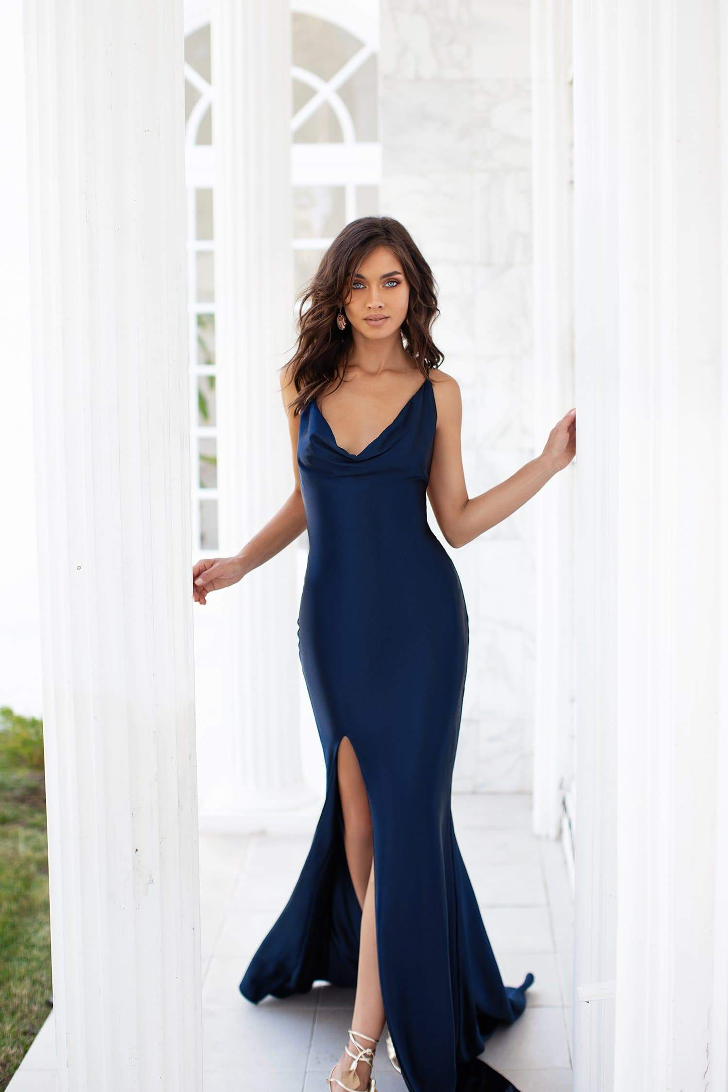 Desirae - Navy Cowl Neck Satin Gown with Side Slit & Lace-Up Back