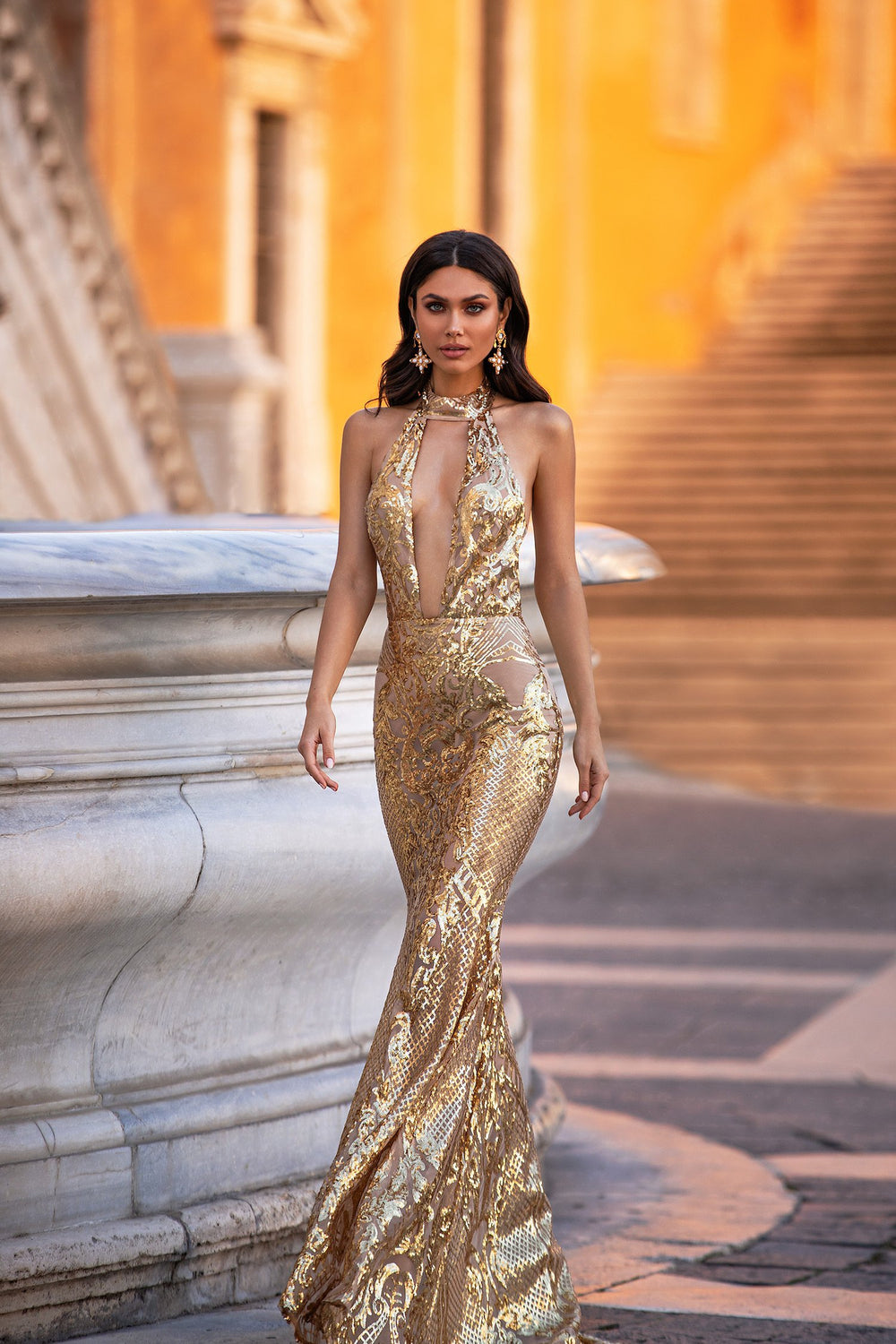 Nicola - Gold Halterneck Backless Sequin Gown with Open Plunge Neck