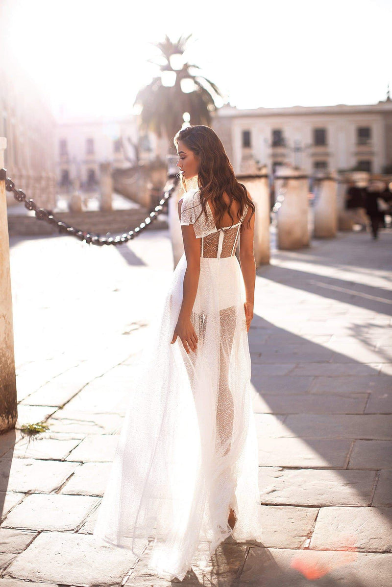 Laurinda - White Sheer Glitter Gown with Side Slit & Tie-Up Straps