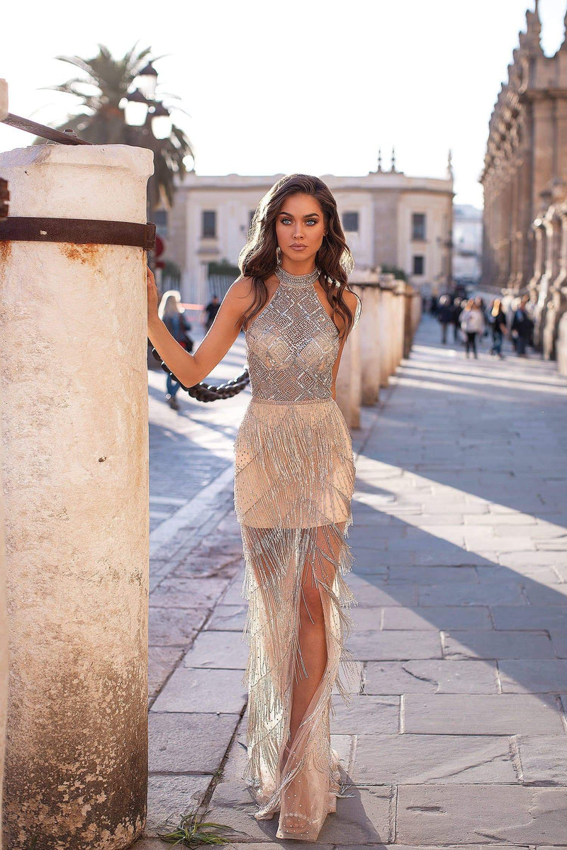 Sevilla - Nude Beaded Tassel Gown with Halter Neck & Open Back