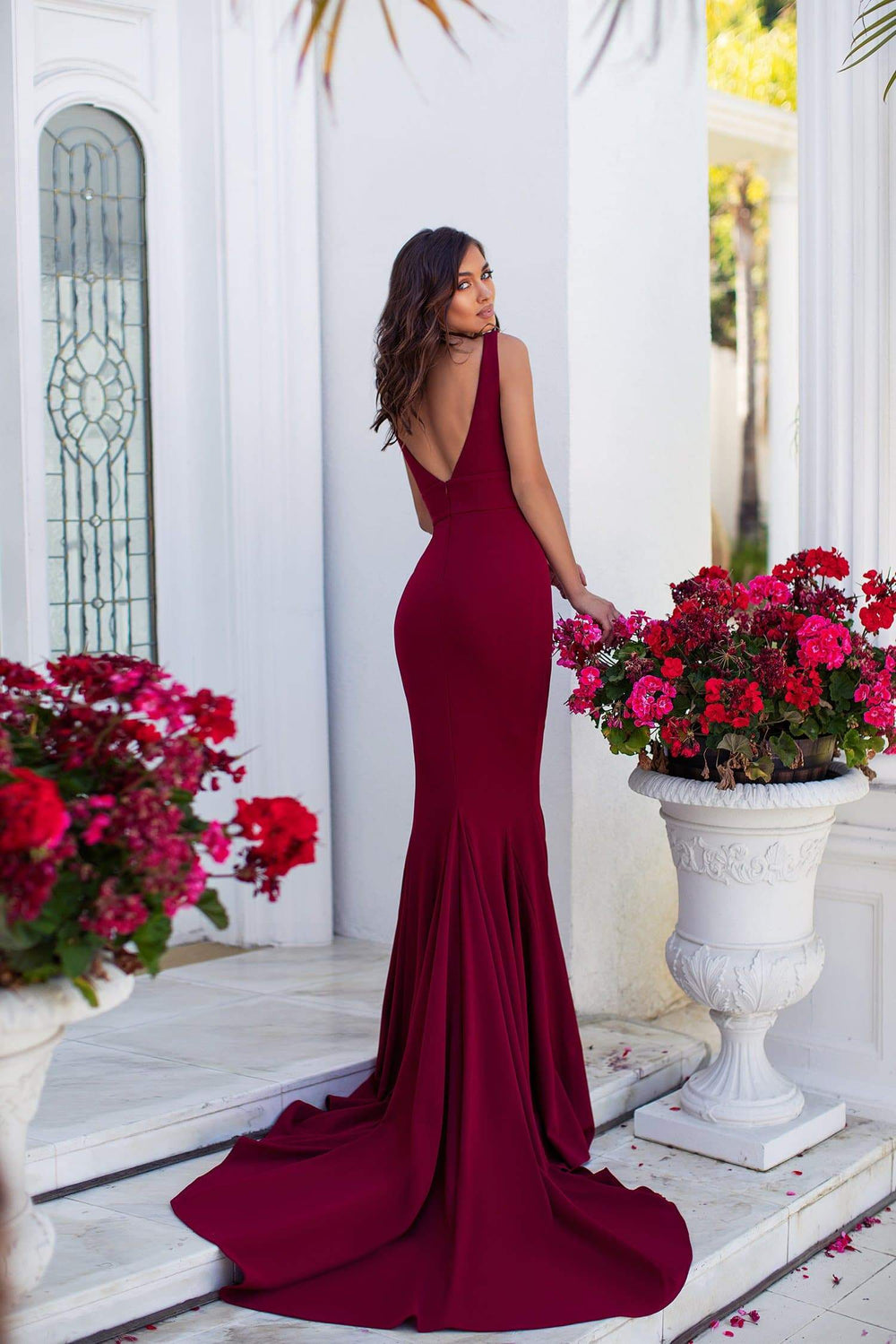 Jovana - Burgundy Mermaid Gown with Plunge Neckline & Long Train