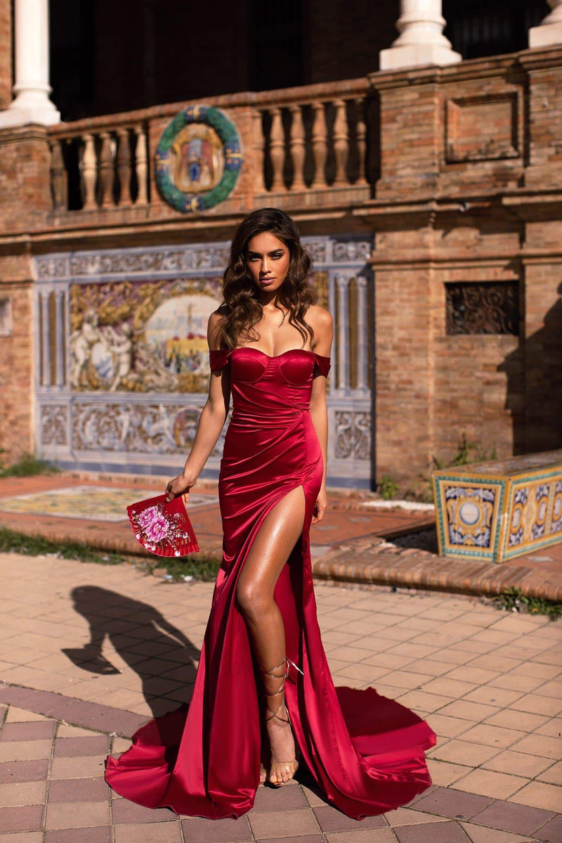 cb558b057 Alexandra - Red Off-Shoulder Satin Gown with Side Slit and Train