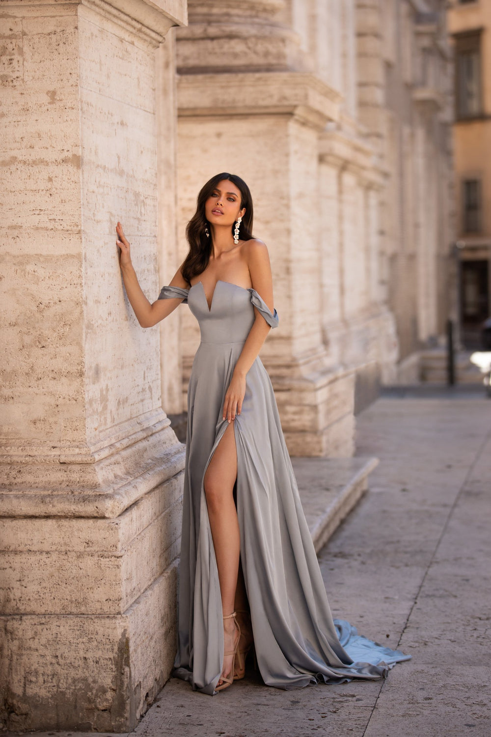 Bianca - Gunmetal Satin Off-Shoulder A-line Gown with Slit