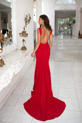 Reina - Red Mermaid Gown with Plunge Neckline & Low Back