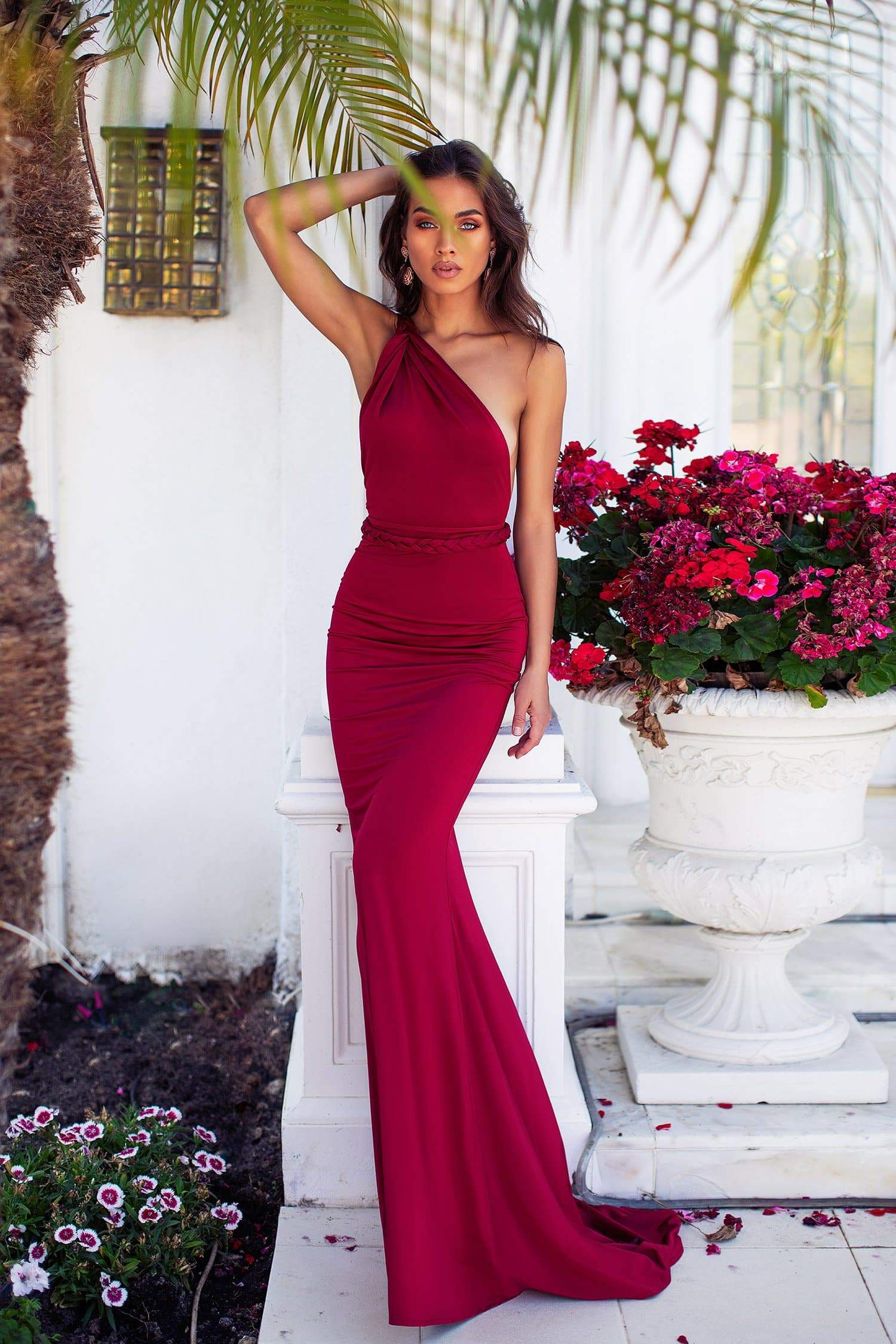Graciela - Wine Red One Shoulder Mermaid Gown with Grecian Style Waist
