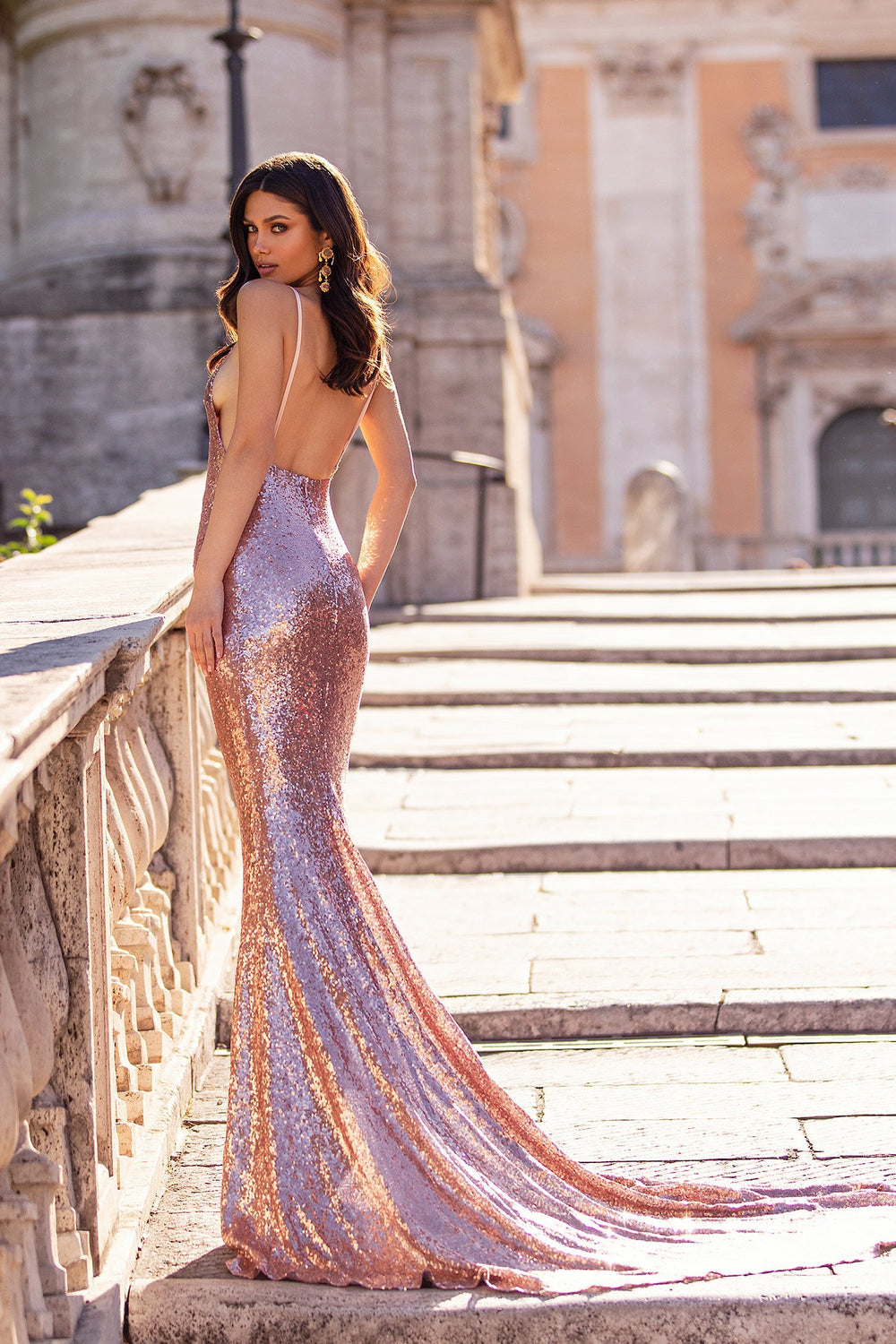Laurenza - Rose Gold Sequin Low Back Gown with Thin Straps & Scoop Neck
