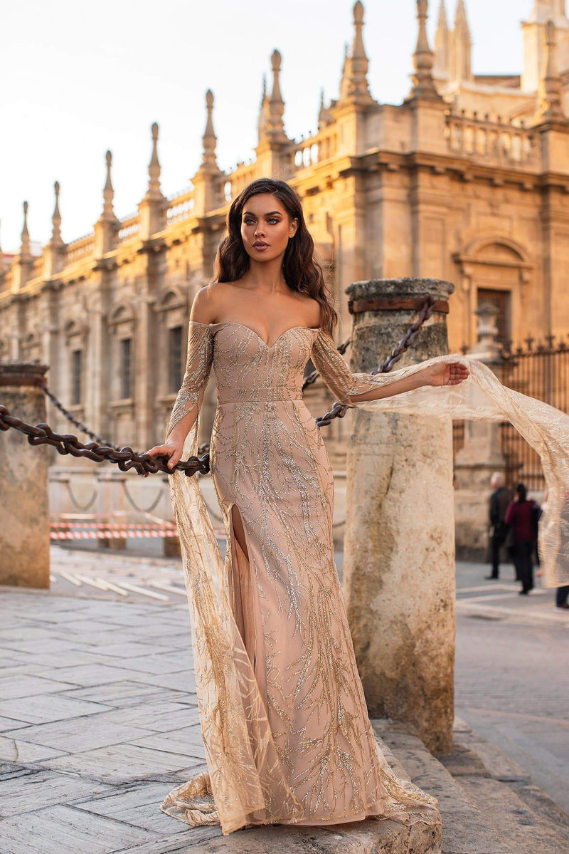 Mathilde - Gold Glitter Off-Shoulder Gown with Flowing Sleeves & Slit