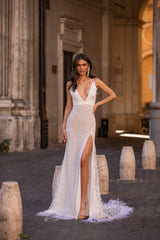 Emiliana - White Embellished Plunge Neck Gown with Side Slit