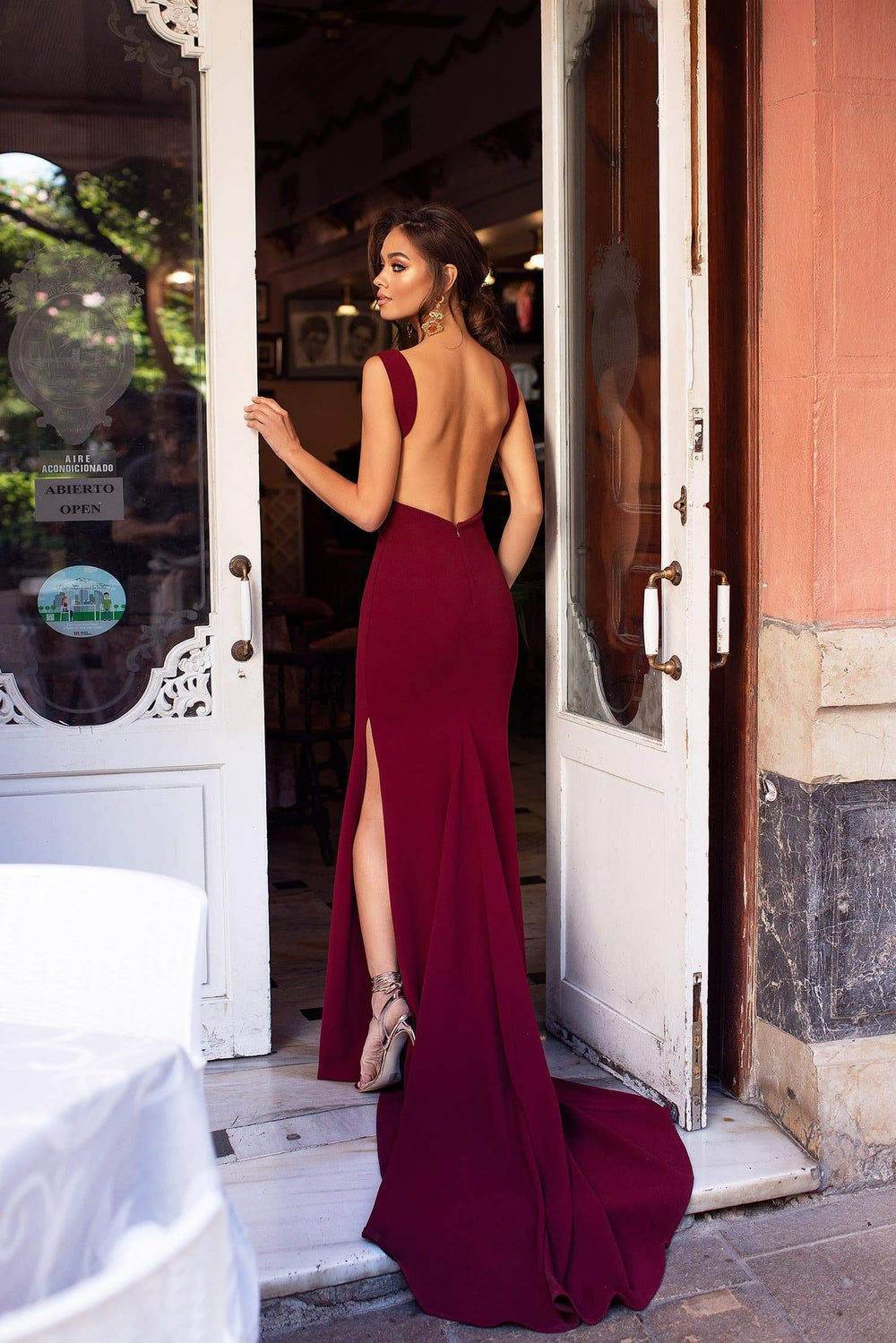 Reina - Burgundy Mermaid Gown with Plunge Neckline & Low Back