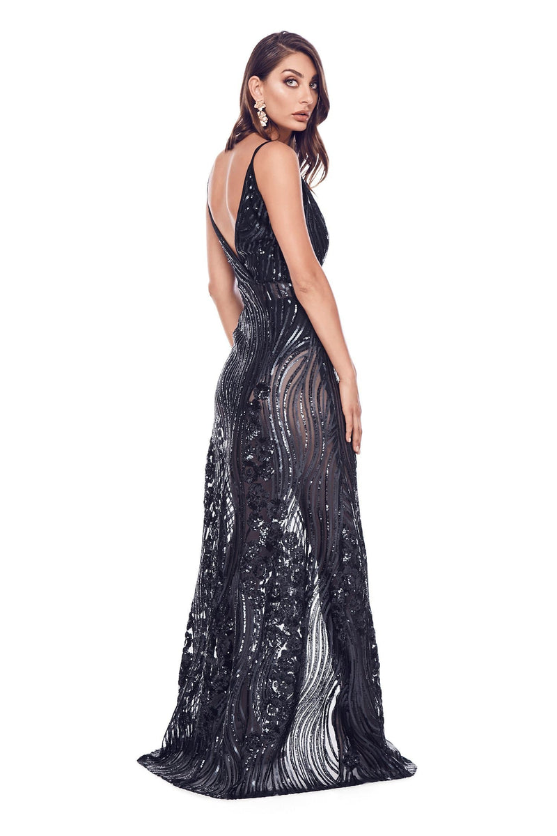 Lacrecia -  Sheer Sequin Navy Gown with Plunge Neck & Side Slit