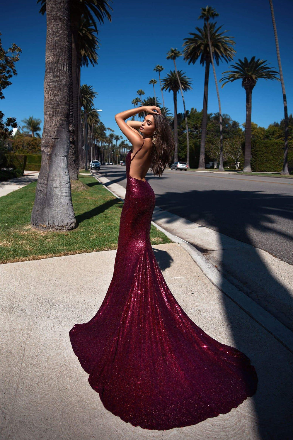 Yassmine Luxe - Burgundy Sequin Gown with Mermaid Tail & Open Back