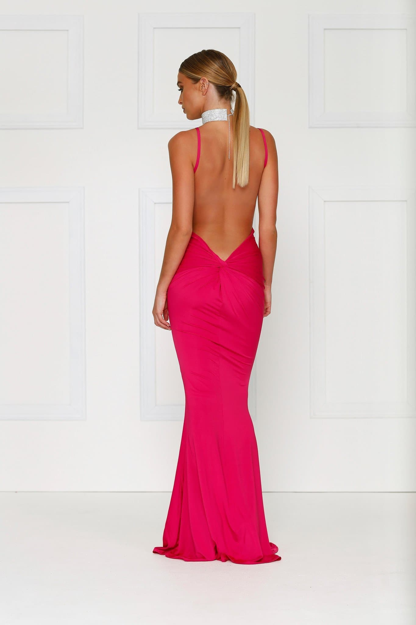 Penelope Luxe - Hot Pink Backless Dress with Back Knot Design