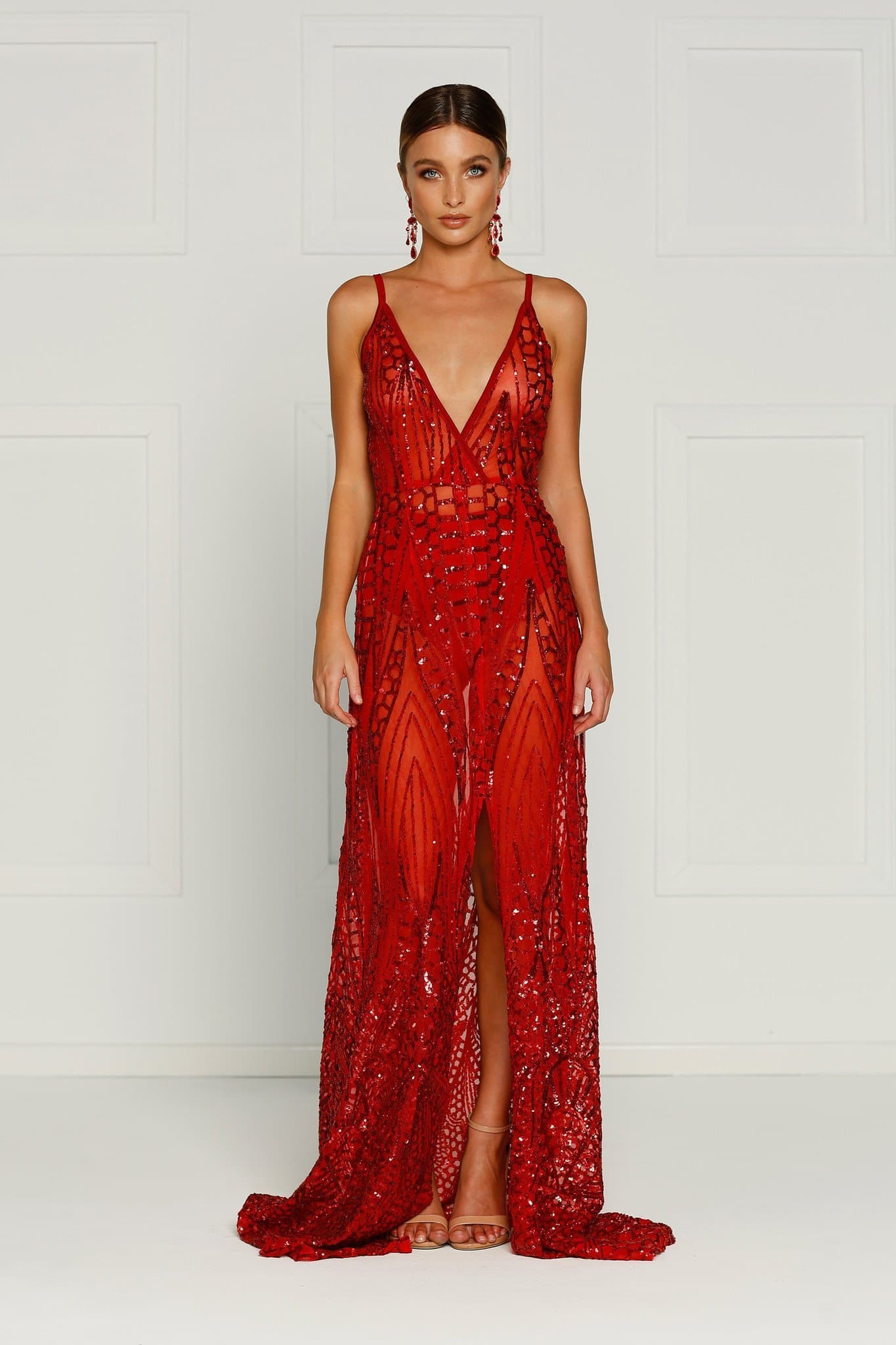 5c3896270b6 Cristal - Red Sheer Sequin Gown with Plunge Neckline   Low Back