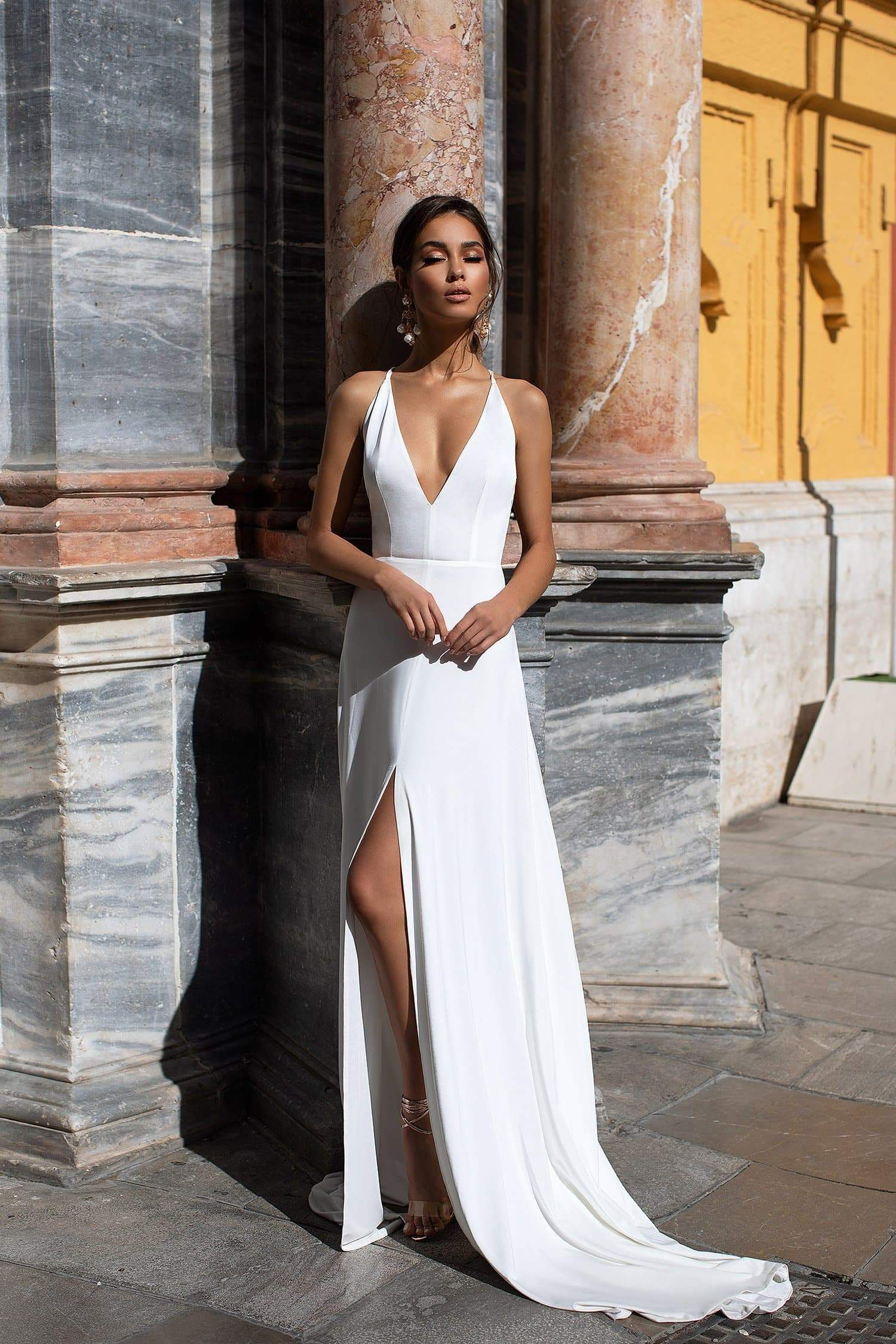 Carisa - White Gown with Plunge Neckline & Criss Cross Back Straps
