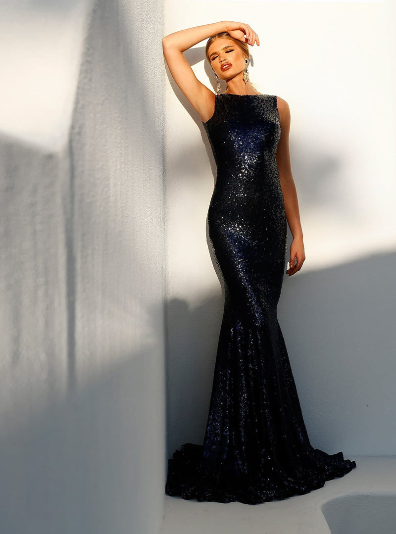 Stone - Navy Sequin Sleeveless Gown with Low Back & Mermaid Train