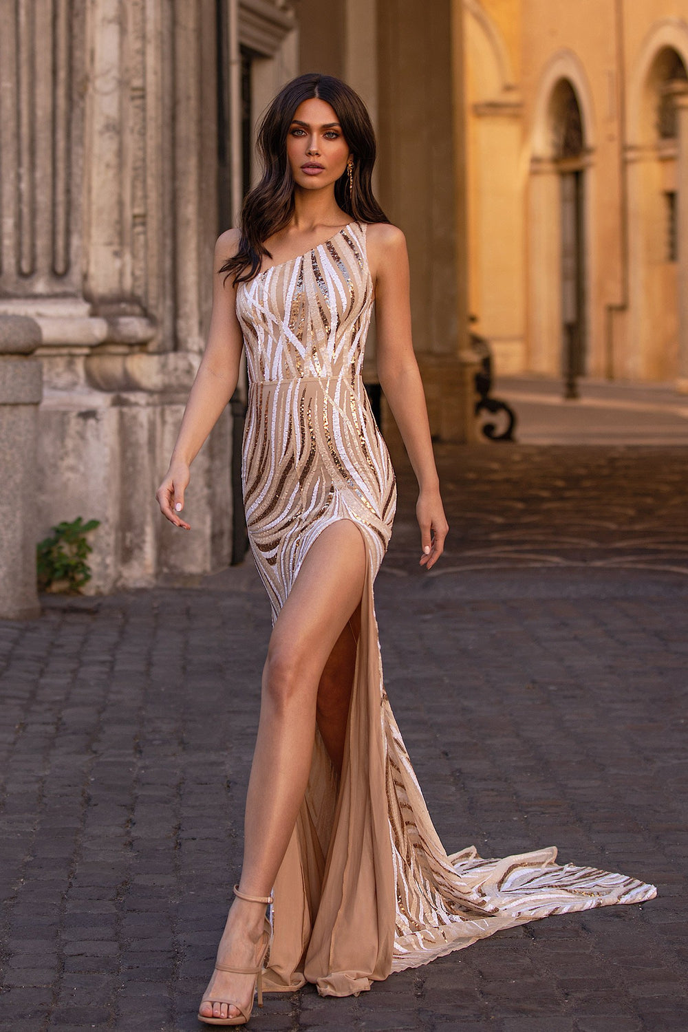 Pauletta - Nude One Shoulder Patterned Sequin Gown with Side Slit