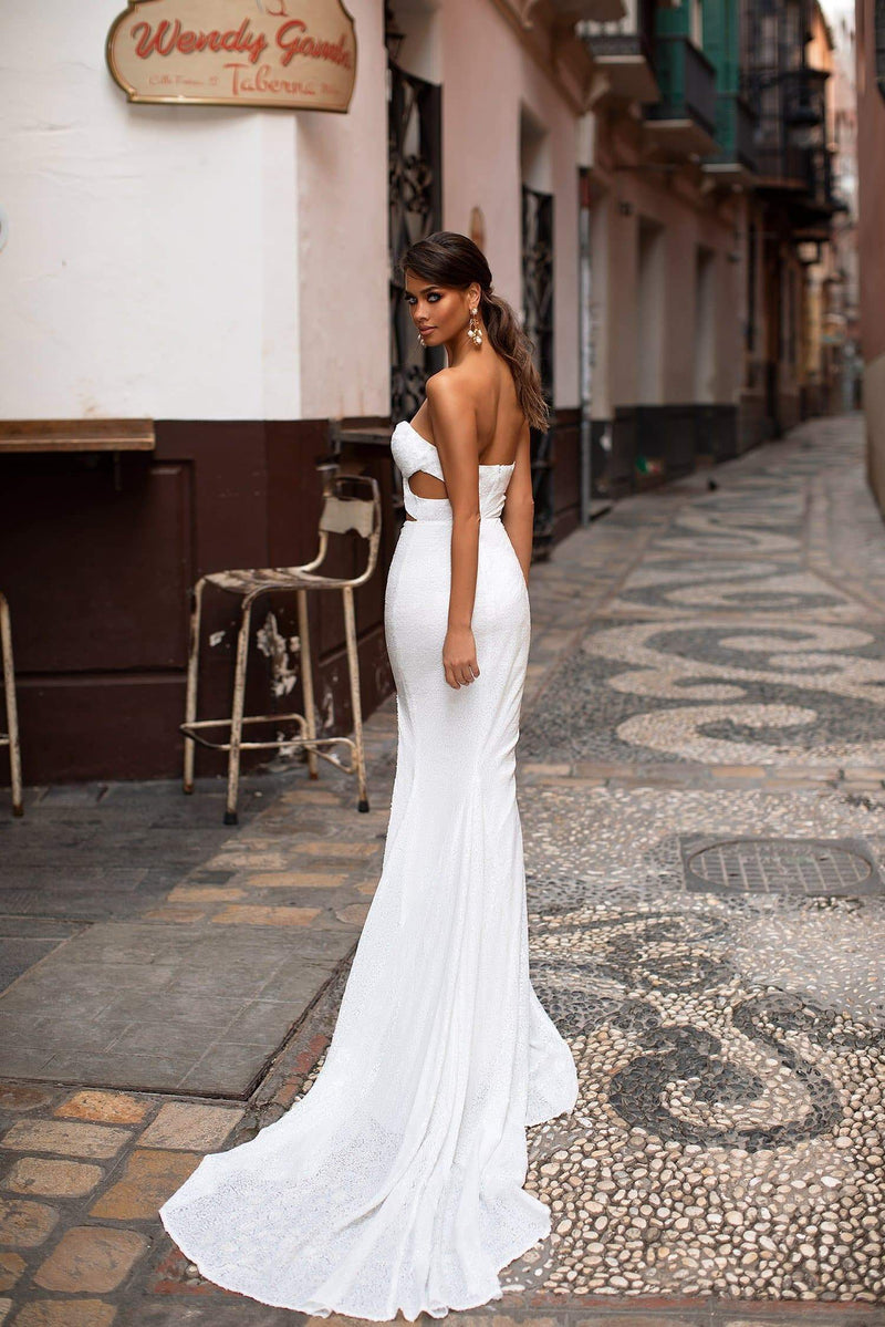Josefina - White Strapless Sweetheart Sequin Gown with Cut-Out & Slit