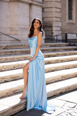 Amila - Sky Blue Satin Gown with Cowl Neck, Slit & Tie-Up Straps