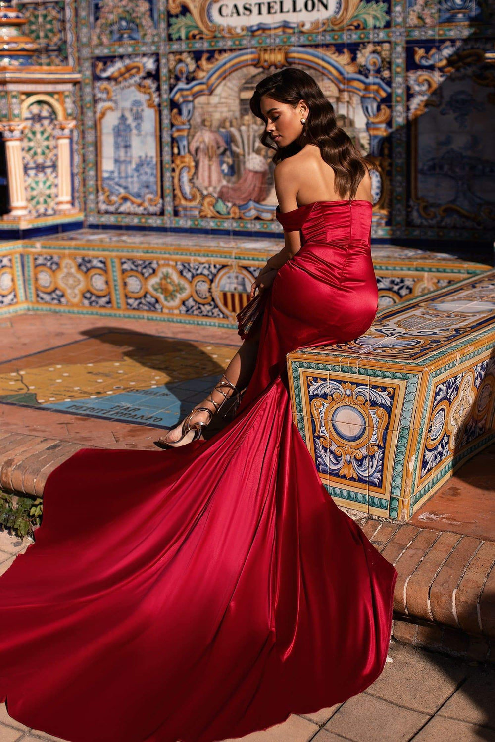 Alexandra - Red Off-Shoulder Satin Gown with Side Slit and Train